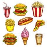 Croquis d'isolement par plats à emporter de déjeuner d'aliments de préparation rapide illustration libre de droits