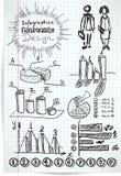 Croquis d'éléments d'Infographics sur la feuille à carreaux Photographie stock libre de droits