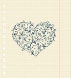Croquis d'ornement floral de coeur sur la feuille de cahier Photo stock