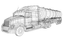 Croquis d'un camion avec un vecteur de réservoir Illustration créée de 3d Fil-cadre