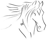 Croquis d'un cheval stilyzed d'isolement Photographie stock libre de droits