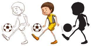 Croquis d'un footballeur dans différentes couleurs Photographie stock libre de droits