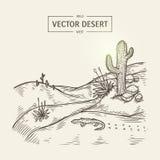 Croquis d'un paysage de région sauvage Dirigez la silhouette de désert avec le sable, le cactus, les pierres et le lézard Images stock