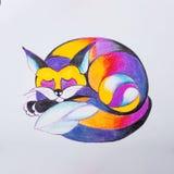 Croquis d'un renard qui s'est courbé et endormi photographie stock libre de droits