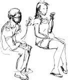 Croquis d'un type et d'une fille mangeant la crème glacée  Image libre de droits