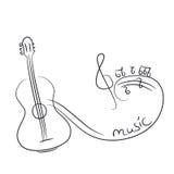 Croquis d'une guitare avec des notes Images stock
