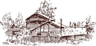Croquis d'une maison de village Photographie stock