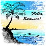 Croquis d'une plage avec le palmier Image libre de droits
