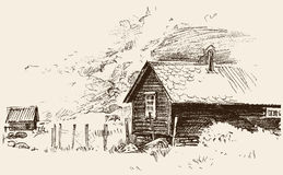 Croquis d'une vieille maison de village Photos libres de droits
