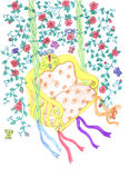 Croquis de balançoir entre les branchements floraux Photographie stock libre de droits