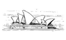 Croquis de bande dessinée du théatre de l'opéra de Sydney, Australie illustration stock
