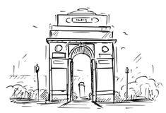 Croquis de bande dessinée de la porte d'Inde, New Delhi, Inde illustration stock
