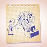 Croquis de bande dessinée de papier de note de concept de patron et d'employés Image libre de droits