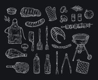 Croquis de barbecue Griffonnage de cru de partie de pique-nique de bifteck frit par légumes de gril de poulet de chiche-kebab de illustration de vecteur
