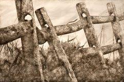 Croquis de barrière de rail en bois un matin brumeux de ressort illustration de vecteur