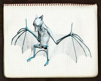 croquis de 'bat' 2 3d illustration de vecteur