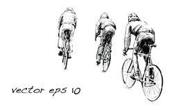Croquis de bicyclette fixe de monte de vitesse de cycliste sur la rue, illustrat Images libres de droits