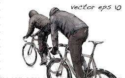Croquis de bicyclette fixe de monte de vitesse de cycliste sur la rue, illustrat Photo stock