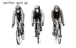 Croquis de bicyclette fixe de monte de vitesse de cycliste sur la rue, illustrat Images stock