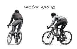 Croquis de bicyclette fixe de monte de vitesse de cycliste sur la rue, illustrat Photographie stock libre de droits