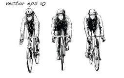 Croquis de bicyclette fixe de monte de vitesse de cycliste sur la rue, illustrat Image libre de droits