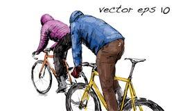 Croquis de bicyclette fixe de monte de vitesse de cycliste sur la rue, illustrat Image stock