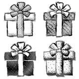 Croquis de cadeau avec l'arc dans le style de griffonnage Photos stock