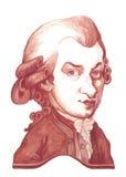Croquis de caricature d'Amadeus Mozart Photos libres de droits