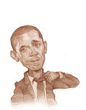 Croquis de caricature de Barack Obama illustration libre de droits