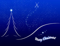 Croquis de carte de Noël sur le fond bleu Illustration Libre de Droits