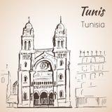 Croquis de cathédrale de Tunis Images libres de droits