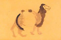 Croquis de chameau sur le papier coloré de jaune Images stock