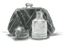 Croquis de Charkoal avec l'embrayage, la bouteille de parfume et le coeur Image libre de droits
