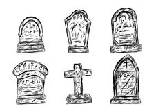 Croquis de cimetière de Halloween dessinant à la main illustration stock