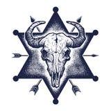 Croquis de crâne de Buffalo Image stock