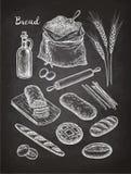 Croquis de craie des pains Photo stock