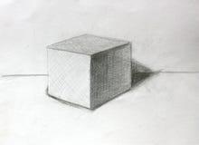croquis de crayon du cube 3D Photographie stock libre de droits