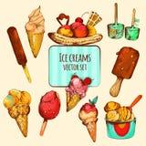 Croquis de crème glacée coloré Image libre de droits