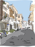 Croquis de déplacement de rue de la Grèce d'Européen Photographie stock