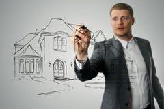 Croquis de développement de maison de dessin d'architecte Images stock