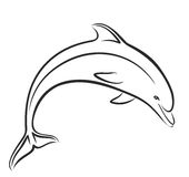Croquis de dauphin dans le saut Photo libre de droits