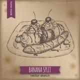 Croquis de dessert de banana split de vintage sur le vieux fond de papier Photographie stock libre de droits