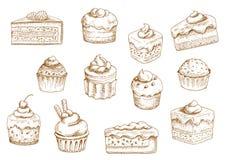 Croquis de desserts de pâtisserie et de bonbon illustration libre de droits