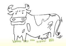 Croquis de dessin animé de vache Photographie stock libre de droits