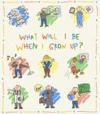 Croquis de dessin de griffonnage de couleur d'enfants de jardin d'enfants Image libre de droits