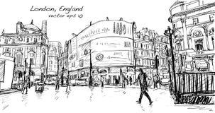 Croquis de dessin de paysage urbain à Londres Angleterre, rue de promenade d'exposition à Image libre de droits