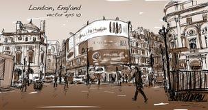 Croquis de dessin de paysage urbain à Londres Angleterre, rue de promenade d'exposition Image libre de droits