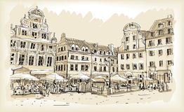 Croquis de dessin de scape de ville dans le vecteur du centre de la Pologne Images libres de droits