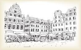 Croquis de dessin de scape de ville dans le vecteur du centre de la Pologne Photographie stock libre de droits