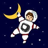 Croquis de dessin de main de griffonnage d'univers de vecteur d'activités d'astronaute Images libres de droits